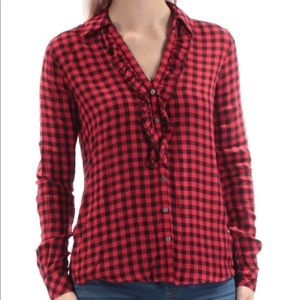 Maison Jules Buffalo Plaid Blouse Size M—D1